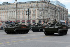 Infantry fighting vehicle BMP-3. MOSCOW, RUSSIA - MAY 07,2016: Rehearsal celebration of the 71th anniversary of the Victory Day.The 9K720 Iskander NATO Stock Photography