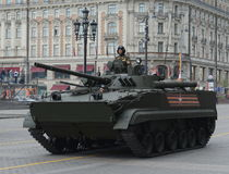 Infantry fighting vehicle BMP-3. MOSCOW, RUSSIA - MAY 07,2016: Rehearsal celebration of the 71th anniversary of the Victory Day.The 9K720 Iskander NATO Royalty Free Stock Photography