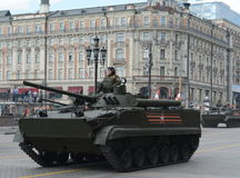 Infantry fighting vehicle BMP-3. MOSCOW, RUSSIA - MAY 07, 2016: Rehearsal celebration of the 71th anniversary of the Victory Day (WWII). Infantry fighting Royalty Free Stock Image