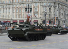 Infantry fighting vehicle BMP-3. MOSCOW, RUSSIA - MAY 07, 2016: Rehearsal celebration of the 71th anniversary of the Victory Day (WWII). Infantry fighting Stock Photography