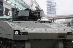 Infantry fighting vehicle turret with machine guns. A photo taken on an infantry fighting armored vehicle showing the turret with advanced sighting system and Stock Images