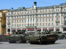 Infantry fighting vehicles on the General parade rehearsal in Moscow. Stock Photography