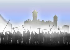 Infantry in the fog. Foot soldiers standing in the fog on the background of the fortress Royalty Free Stock Photography