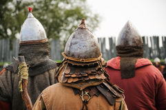 Infantry male warriors in the Middle Ages medieval. Infantry in the Middle Age Stock Photo