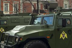 Infantry mobility vehicle with a crew on a city street after the Victory Day parade. Perm, Russia - May 09, 2018: GAZ Tigr infantry mobility vehicles on a city Royalty Free Stock Photography