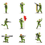 Infantry Soldiers In Full Military Khaki Uniform With Guns During War Operation Collection Of Cartoon Land Forces Royalty Free Stock Image