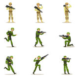 Infantry Soldiers In Full Military Khaki Uniform With Guns During War Operation Set Of Cartoon Land Forces Cartoon Stock Photos