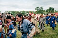 Infantry troops at Kluszyn 1610. WARSAW - July 04: Infantry troops - Battle of Klushino (KLUSZYN) 1610 reenactment - July 04, 2010 in Warsaw, Poland Stock Photography