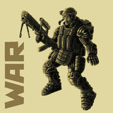 Infantryman in armor suit. Vector illustration. stock photo