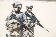 Infantrymen in action Royalty Free Stock Photo