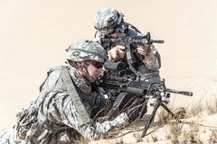 Infantrymen in action Stock Images