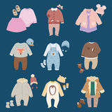 Infants baby child clothes vector. Stock Photos