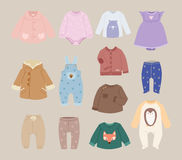 Infants baby child clothes vector. Royalty Free Stock Image