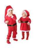 Infants in the clothes of Santa Claus. Stock Image