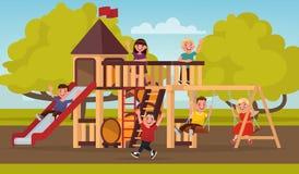 Infanzia felice Gioco di bambini sul campo da giuoco Illustr di vettore illustrazione di stock