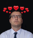 Infatuation. Hearts in the thoughts, businessman, infatuation Stock Photos