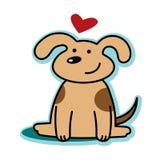 Infatuazione sveglia del cane del biglietto di S. Valentino con cuore rosso Fotografia Stock