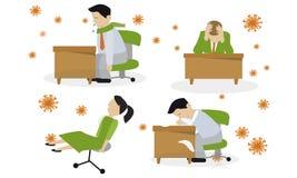 Infección de la gripe virus Frío común stock de ilustración