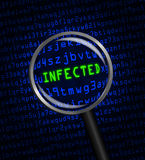 INFECTED in green revealed in blue computer machine code through a magnifying glass Royalty Free Stock Photo