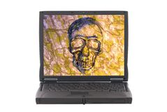 Infected laptop with virus, skull on screen. Stock Images
