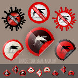 Infected mosquito icon awareness vector set in stamp shape. With colors and shapes to choose Royalty Free Stock Photography