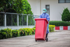 Infected people into the trash, Trash infections in hospitals.  Royalty Free Stock Images