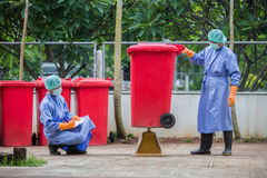 Infected people into the trash, Trash infections in hospitals Royalty Free Stock Image