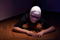 Infected sick girl with a bandage on her head Royalty Free Stock Photos