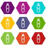 Infected USB flash drive icon set color hexahedron Royalty Free Stock Photos