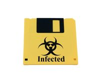 Infected yellow floppy disk Royalty Free Stock Image