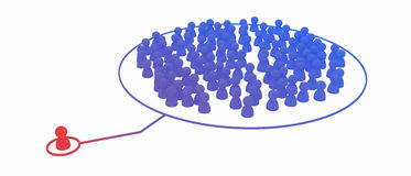 Infecting. Crowd of small symbolic 3d figures, isolated stock illustration