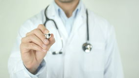 Infection, Doctor Writing on Transparent Screen. Man writing stock footage