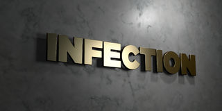 Infection - Gold sign mounted on glossy marble wall - 3D rendered royalty free stock illustration. This image can be used for an online website banner ad or a Vector Illustration