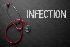 Infection Handwritten on Chalkboard. 3D Illustration. Medical Concept: Infection Handwritten on Black Chalkboard. Top View of Red Stethoscope on Chalkboard Stock Photo
