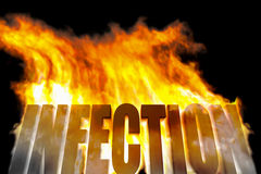 Infection. An image of a burning word infection royalty free illustration