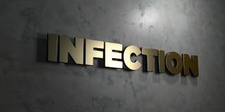Infection - signe d'or monté sur le mur de marbre brillant - illustration courante gratuite de redevance rendue par 3D Photos libres de droits