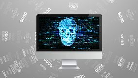 Infection trojan, virus attacks on computer. Hackers on the Internet. DDOS Attack stock video
