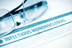 Infectious Mononucleosis. Medicine. 3D Illustration. Infectious Mononucleosis - Medical Concept on Blue Background with Blurred Text and Composition of Stock Images