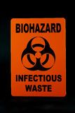 Infectious Waste. An infectious waste warning sign against a black background Stock Images