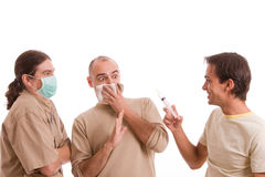 infekterad man h1n1 Royaltyfri Bild
