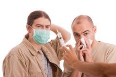 infekterad man h1n1 Fotografering för Bildbyråer