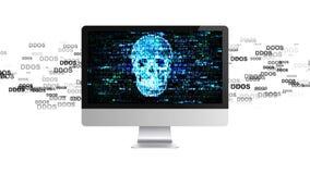 Infektiontrojan, virusattacker på datoren En hacker på internet Röd pil med DDOS-attackslogan på en grå bakgrund stock video