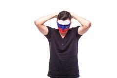 Infeliz e falha do objetivo ou perca emoções do jogo do fan de futebol do russo no apoio do jogo da equipa nacional de Rússia Imagem de Stock Royalty Free