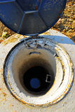 Sewer in the construction. Sewer open manhole in the construction site ,city drainage entrance,usually is set in the street or by the roadside,but some use Stock Photos