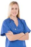 Infermiera isolata sull'uniforme dell'azzurro del whitewith Immagine Stock Libera da Diritti