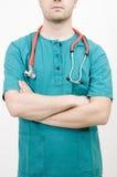 infermiera maschio attraversata delle braccia fotografia stock
