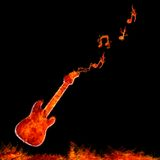 Infernal guitar. Illustration with flame guitar on black background Royalty Free Stock Photography