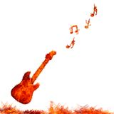 Infernal guitar. Illustration with flame guitar on  white background Stock Photos