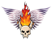 Infernal halloween. Biker style image of skull in fire Stock Images