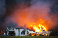 Inferno. Huge fire in Voorhout, Holland Royalty Free Stock Image